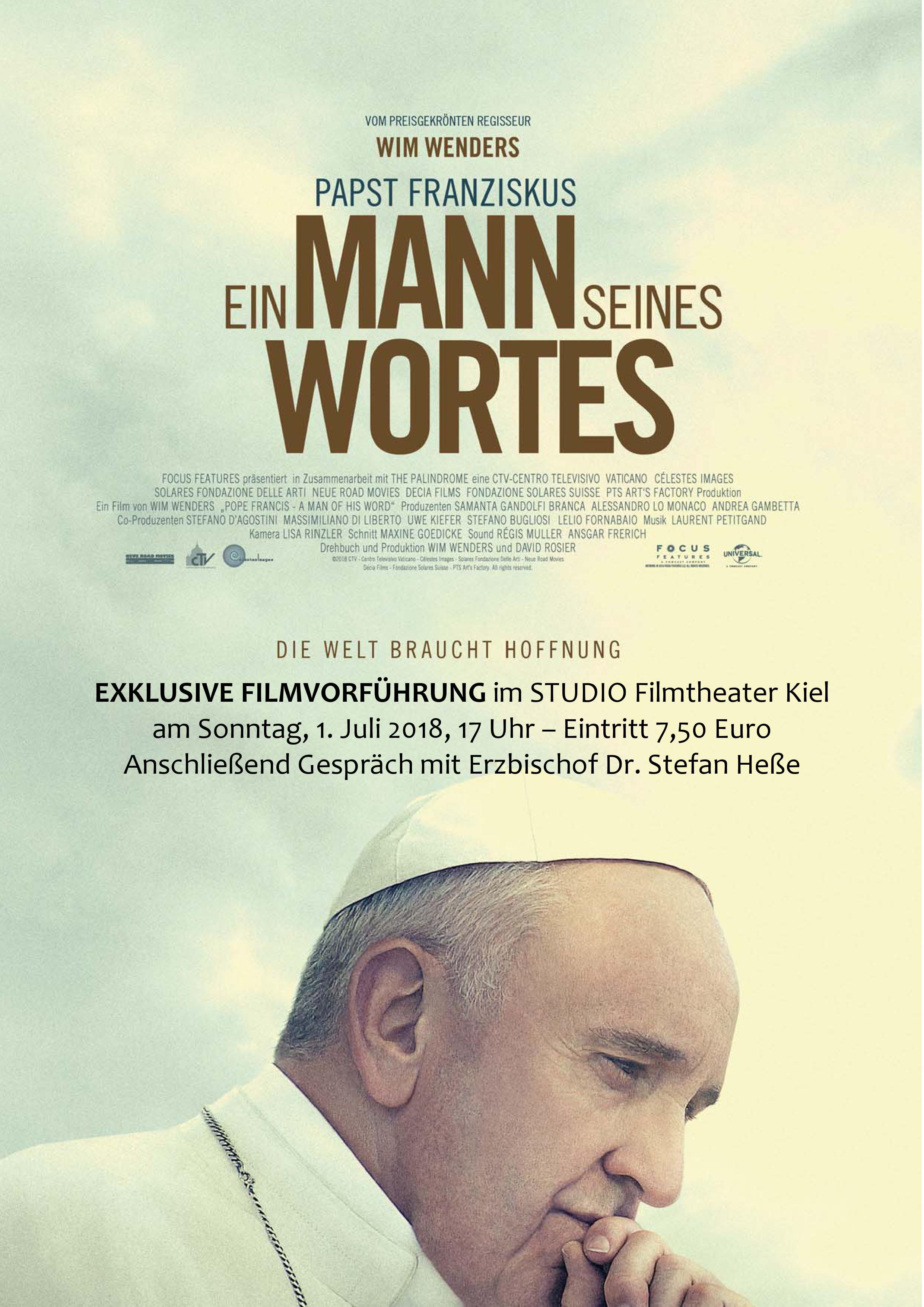 Plakat Papstfilm von Wim Wenders - Vorführung in Kiel am 01.07.2018